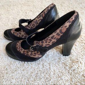 Aerosoles leopard heels with straps